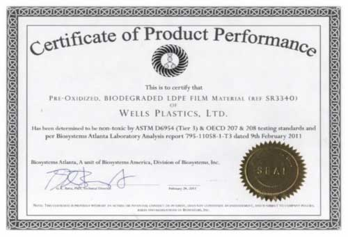 Certificate Of Product Performance